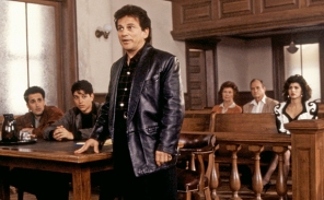 MY COUSIN VINNY, Mitchell Whitfield (far left), Ralph Macchio (second from left), Joe Pesci (third f